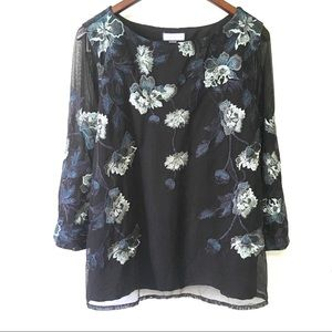 NWT Charter Club Black Embroidered Floral Blouse